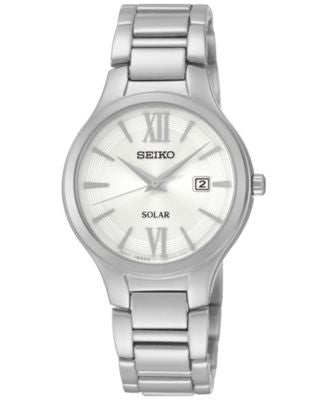 Seiko Women's Solar Stainless Steel Bracelet Watch 29mm SUT207