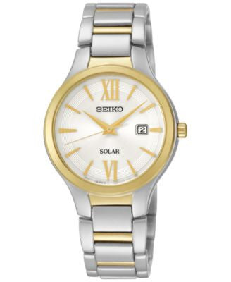 Seiko Women's Solar Two-Tone Stainless Steel Bracelet Watch 29mm SUT210