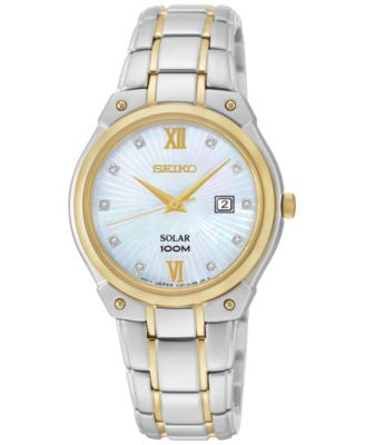 Seiko Women's Solar Diamond Accent Two-Tone Stainless Steel Bracelet Watch 30mm SUT214