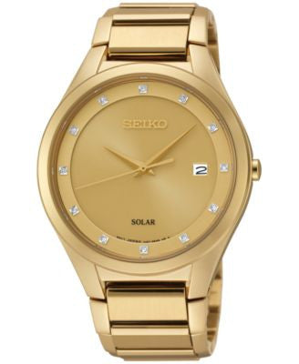 Seiko Men's Solar Diamond Accent Gold-Tone Stainless Steel Bracelet Watch 39mm SNE384