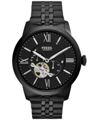 Fossil Men's Automatic Townsman Black-Tone Stainless Steel Bracelet Watch 44mm ME3062