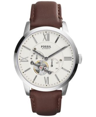 Fossil Men's Automatic Townsman Brown Leather Strap Watch 44mm ME3064