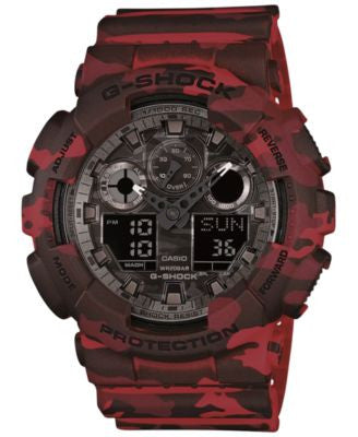 G-Shock Men's Analog-Digital Red Camouflage Resin Strap Watch 55x51mm GA100CM-4A