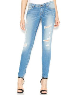 GUESS Power Low-Rise Distressed Voila Wash Skinny Jeans