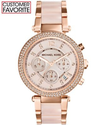 Michael Kors Women's Chronograph Parker Blush and Rose Gold-Tone Stainless Steel Bracelet Watch 39mm