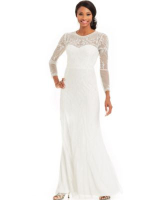 Adrianna Papell Long-Sleeve Beaded Illusion Gown