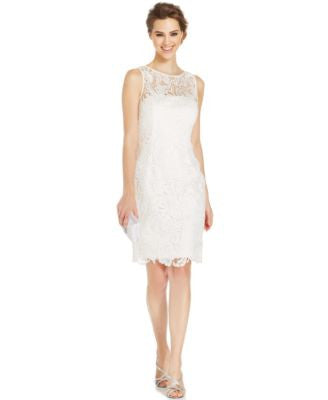 Adrianna Papell Illusion Lace Sheath Dress