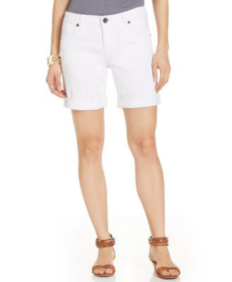 Kut from the Kloth Catherine Boyfriend Denim Shorts, White Wash