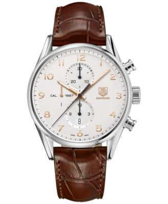 TAG Heuer Men's Swiss Automatic Chronograph Carrera Calibre 1887 Brown Leather Strap Watch 43mm CAR2