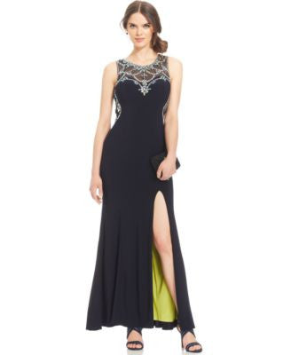 Betsy & Adam Embellished Sweetheart Illusion Gown