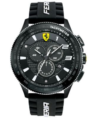 Scuderia Ferrari Men's Chronograph Scuderia XX Black Silicone Strap Watch 48mm 830242