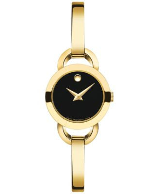 Movado Women's Swiss Rondiro Mini Gold PVD-Finished Stainless Steel Bangle Bracelet Watch 22mm 06068