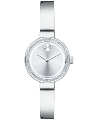 Movado Women's Swiss Bold Diamond (1/5 ct. t.w.) Stainless Steel Bangle Bracelet Watch 25mm 3600321