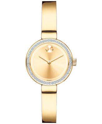 Movado Women's Swiss Bold Diamond (1/5 ct. t.w.) Gold Ion-Plated Stainless Steel Bangle Bracelet Wat