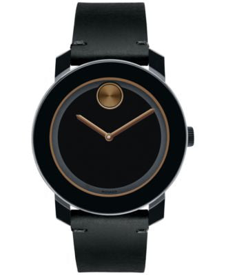 Movado Men's Swiss Bold Black Rustic Leather Strap Watch 42mm 3600297
