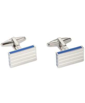 Kenneth Cole Polished Rhodium with Horizontal Line Detail Cufflinks