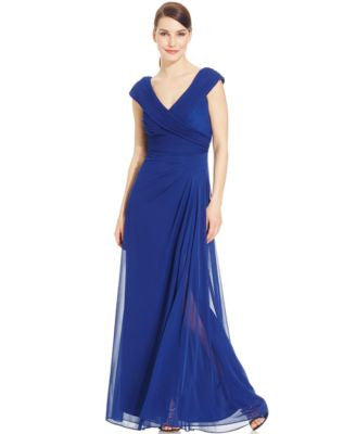 Alex Evenings Portrait-Collar Side-Slit Gown