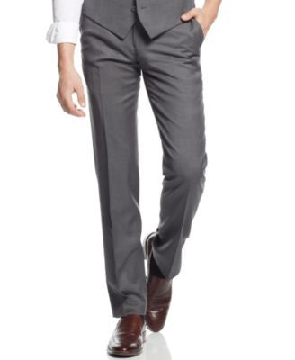 Bar III Mid-Grey Pindot Slim-Fit Pants