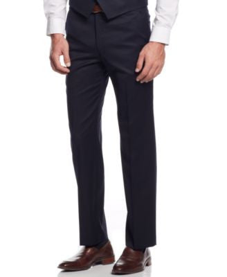 Lauren Ralph Lauren Pleated Navy Solid Classic-Fit Dress Pants