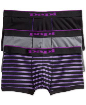 Papi Men's Multi-Striped and Solid Brazilian Trunks 2-Pack