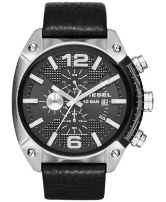 Diesel Men's Chronograph Overflow Black Leather Strap Watch 49mm DZ4341