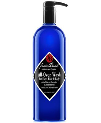 Jack Black All-Over Wash for Face, Hair, and Body with Wheat Protein & Panthenol, 33 oz