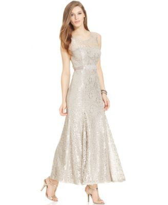 Betsy & Adams Metallic Lace Belted Gown
