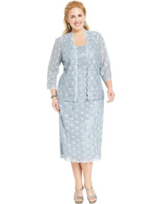 Alex Evenings Plus Size Sequined Lace Dress and Jacket