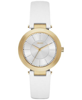 DKNY Women's Stanhope White Leather Strap Watch 36mm NY2295