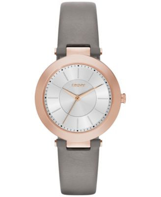 DKNY Women's Stanhope Gray Leather Strap Watch 36mm NY2296
