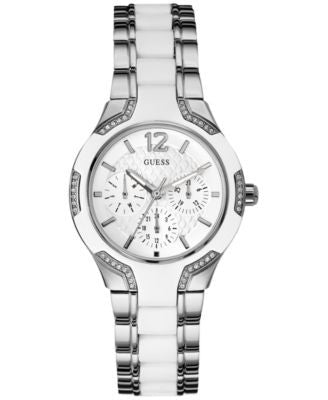 GUESS Women's White Silicone and Silver-Tone Steel Bracelet Watch 36mm U0556L1