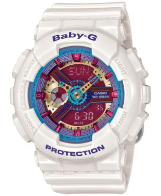 Baby-G Women's Analog-Digital White Resin Strap Watch 46x43mm BA112-7A