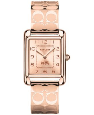 COACH WOMEN'S SIGNATURE ROSE GOLD-PLATED ETCHED BANGLE BRACELET WATCH 24MM 14502161
