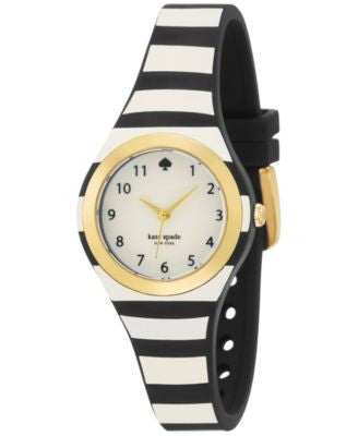 kate spade new york Women's Rumsey Black and Cream Stripe Plastic Strap Watch 30mm 1YRU0749