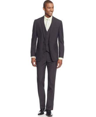 Kenneth Cole Reaction Charcoal Texture Grid Slim-Fit Vested Suit
