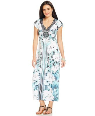 Style & Co. Petite Flutter-Sleeve Printed Maxi Dress, Only at Vogily