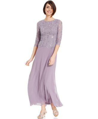 Alex Evenings Elbow-Sleeve Sequined Lace Gown