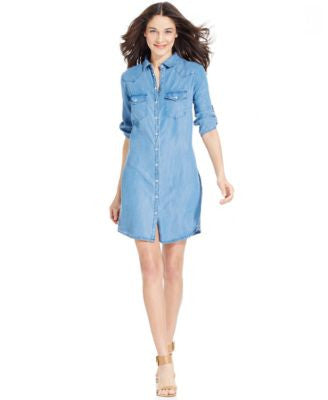 Kut from the Kloth Denim Elbow-Sleeve Shirtdress