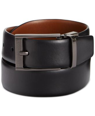 Perry Ellis Men's Leather Men's Leather Reversible Feather Edge Soft Touch Cowhide Belt