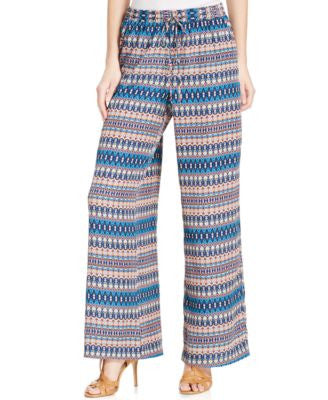 NY Collection Geo-Print Palazzo Pants