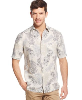 Tasso Elba Men's Short-Sleeve Linen-Blend Palm-Print Shirt