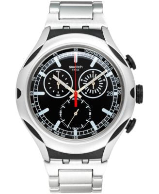 Swatch Unisex Swiss Chronograph Black Energy Silver-Tone Aluminum Bracelet Watch 44mm YYS4000AG