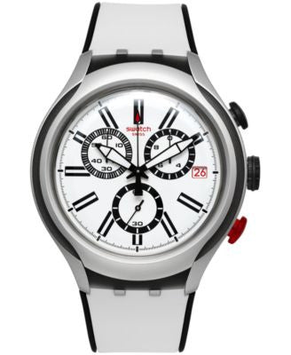 Swatch Unisex Swiss Chronograph Black Wheel Black and White Silicone Strap Watch 44mm YYS4005