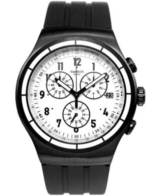 Swatch Men's Swiss Chrono Again Black Rubber Strap Watch 44mm YOB403