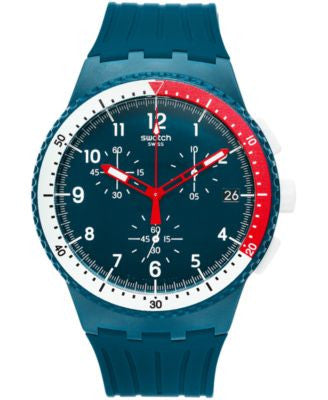 Swatch Men's Swiss Chronograph El Comandante Petrol Blue Debossed Silicone Strap Watch 42mm SUSN405