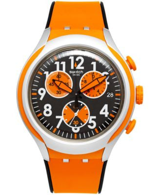 Swatch Unisex Swiss Chronograph Feel Strong Black and Orange Silicone Strap Watch 44mm YYS4003