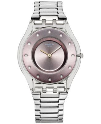 Swatch Women's Swiss Silver Drawer Stainless Steel Bracelet Watch 34mm SFK393G