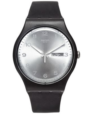 Swatch Unisex Swiss Silver Friend White and Black Double-Layer Silicone Strap Watch 41mm SUOB717
