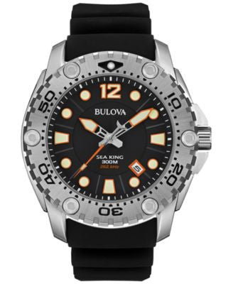 Bulova Men's UHF Sea King Black Rubber Strap Watch 49mm 96B228