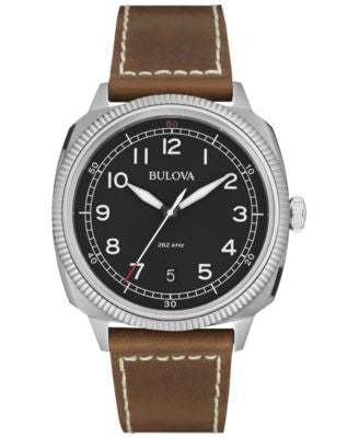 Bulova Men's UHF Military Brown Leather Strap 42mm Watch 96B230